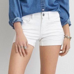 American Eagle White Midi Super Stretch Shorts